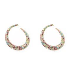 Mode geometrische runde Strasslegierung Ohrringe Großhandel NHYAO345653
