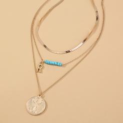 Mode geometrische mehrschichtige Buchstabe R Halskette Großhandel NHAN345660