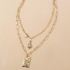 Mode Multilayer Golden Portrait Wassertropfen Tag Halskette NHAN345661