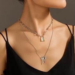 Mode mehrschichtige schlösserförmige Schlüssellegierung Halskette Großhandel NHAN345664
