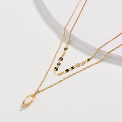 Mode mehrschichtige Metallperlenkette Perlenlegierung Halskette Großhandel NHAN345670