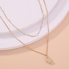Mode geometrische Doppelschicht Perlenkette NHAN345671