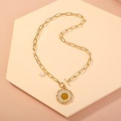 Mode Gitterkette Pflanzenproben getrocknete Blumen Chrysanthemen Halskette NHAN345672