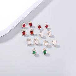 einfache geometrische Ohrringe aus Mikrodiamantgold NHAN345673