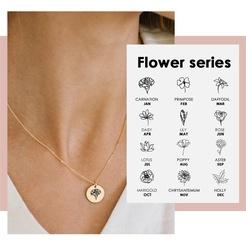 Mode geometrische Blume Titan Stahlkette Großhandel NHTF345686