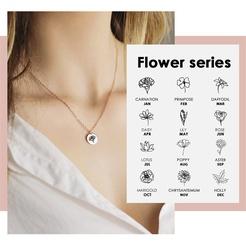 Mode runde Dezember Blume Titan Stahlkette Großhandel NHTF345687