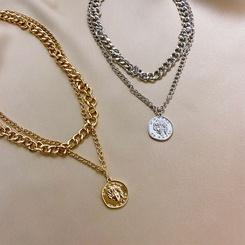 Mode Porträt dicke Kette doppelschichtige Legierung Halskette Großhandel NHPF345690