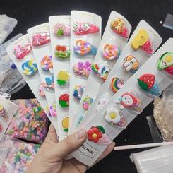 Koreanische Kontrastfarbe Früchte blühen Kinder Haarnadeln NHLL345698