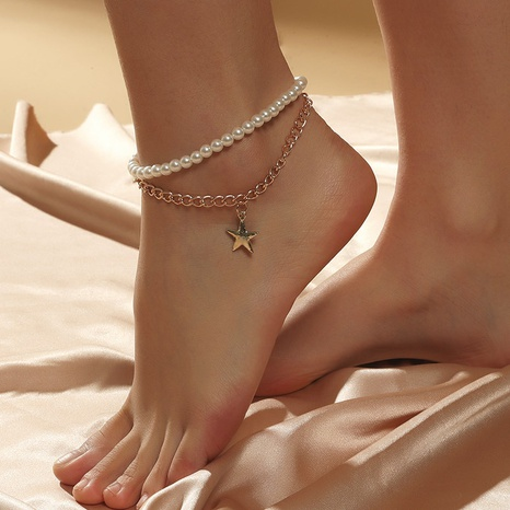 Simple multi-layer star pearl anklet bohemian beach chain foot accessories NHLA345700's discount tags