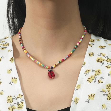 Bohemian ladybug handmade miyuki bead necklace wholesale NHLA345701's discount tags