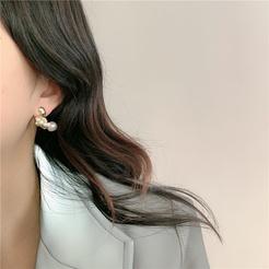 Korea Perle asymmetrische Metall Lava Legierung Ohrringe Großhandel NHYQ345703