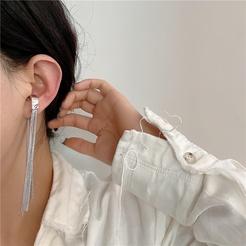 Korea geometrische lange Kette Quaste Legierung Ohrringe Großhandel NHYQ345705