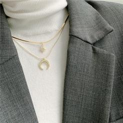 Mode Doppelschicht sechszackige Stern Mondlegierung Halskette Großhandel NHYQ345710