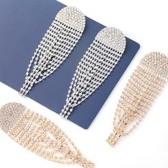 Mode halbkreisförmige Legierung Diamant besetzt Strass lange Quaste Ohrringe NHJE345721