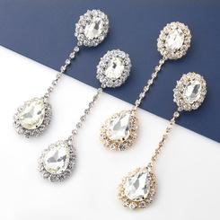 Großhandel Mode ovale tropfenförmige Glasdiamanten lange Ohrringe NHJE345722
