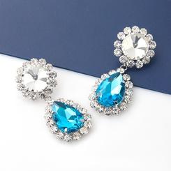 Mode runde tropfenförmige Diamantglas Diamantohrringe aus Aluminium NHJE345726