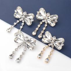 Diamant-besetzte Glasdiamant-Schmetterlingsohrringe aus Modelegierung NHJE345729