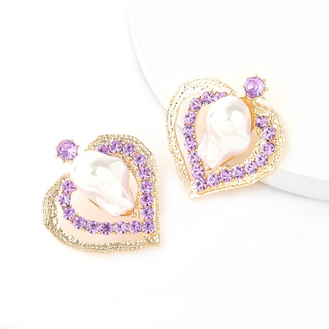 fashion multi-layer heart-shaped alloy diamond pearl earrings NHJE345731's discount tags