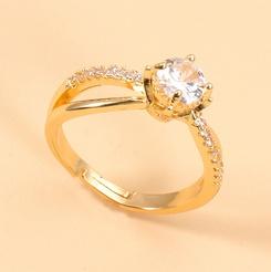 Offener Ring aus koreanischem geometrischem Kupfer eingelegtem Zirkon NHJJ345735