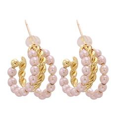 Mode C-förmige Perle kreisförmige Legierung Ohrringe Großhandel NHJJ345737