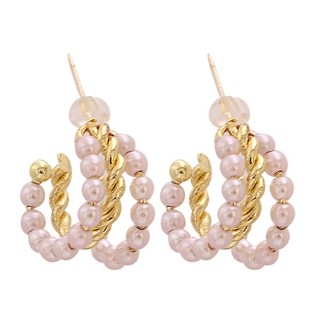 Fashion C-shaped pearl circle-shaped alloy earrings wholesale NHJJ345737's discount tags