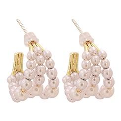 Mode C-förmige Perle kreisförmige Legierung Ohrringe Großhandel NHJJ345740
