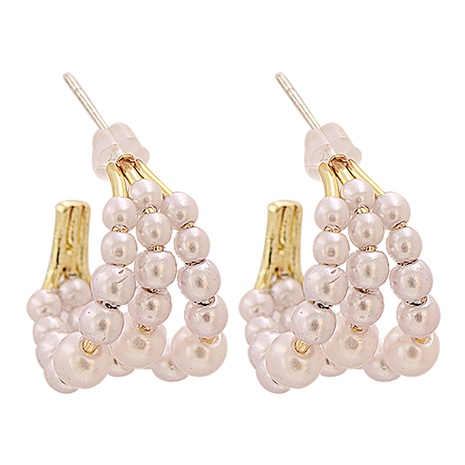 Fashion C-shaped pearl circle-shaped alloy earrings wholesale NHJJ345740's discount tags