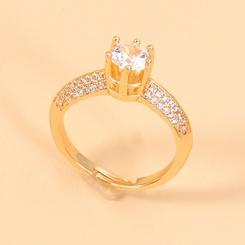 Großhandel koreanischen eingelegten zweireihigen Zirkon offenen Ring NHJJ345745