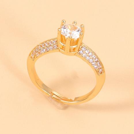 Al por mayor anillo abierto de circonita de doble fila con incrustaciones coreanas NHJJ345745's discount tags