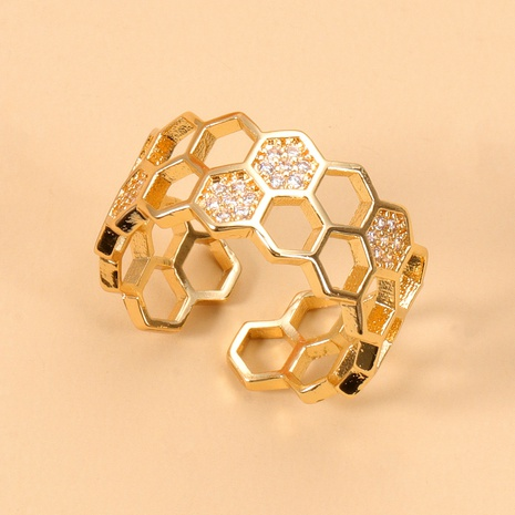 Korean copper inlaid zircon honeycomb open ring NHJJ345747's discount tags