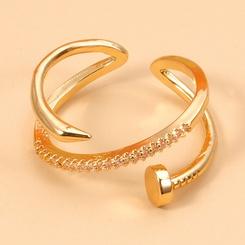 einfache geometrische eingelegte Zirkon Nagel Kreuz Ring Großhandel NHJJ345748