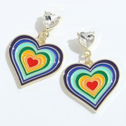Großhandel Mode mehrschichtige Tropfen Öl Farbe Pfirsich Herz Ohrringe NHJQ345750