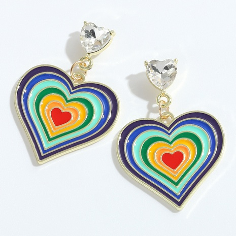 wholesale fashion multi-layer drop oil color peach heart earrings NHJQ345750's discount tags