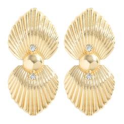 Mode geometrische Legierung Diamanten Schale Galvanisieren Gold Ohrringe NHJQ345752