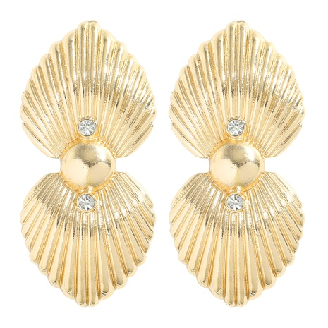 fashion geometric alloy diamonds shell electroplating gold earrings NHJQ345752's discount tags