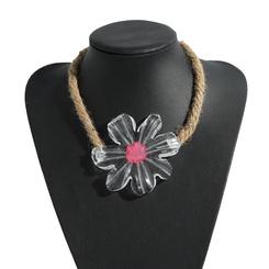 Mode Acryl Blume Hanf Seil Halskette Großhandel NHJQ345753