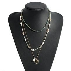 Mode Acryl Perle handgemachte mehrschichtige Shell Legierung Halskette Großhandel NHJQ345755