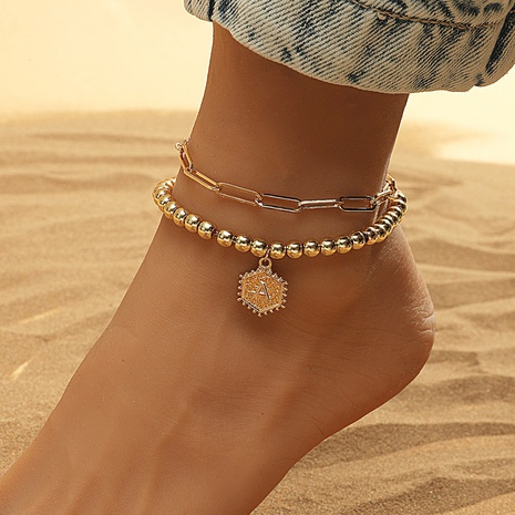 Fashion geometric double layer letters alloy anklet wholesaleNHDP345761's discount tags