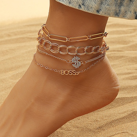 Fashion geometric multi-layer chain anklet 4-piece set NHDP345762's discount tags
