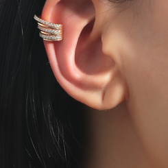 Mode Zirkon C-Typ mehrschichtige Gold Ohrringe Großhandel NHDP345763