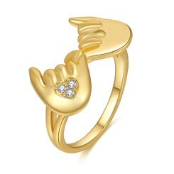 Mode goldenen Zirkon Hand in Hand Ring Großhandel NHDP345764