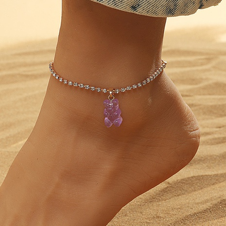 Fashion geometric rhinestone bear alloy anklet wholesale NHDP345766's discount tags