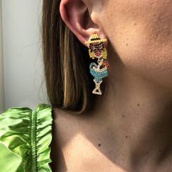 neue Mode geometrische Retro farbige Diamant Porträt Ohrringe NHMD345776