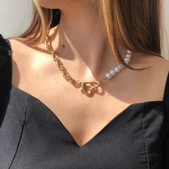 Mode Perle kreative asymmetrische Kettennähte Legierung Halskette Großhandel NHMD345780