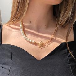 Mode Perlenkette Nähte Blumenlegierung Halskette Großhandel NHMD345783