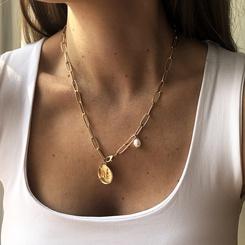 Mode Perle geometrische Scheibe Legierung Halskette Großhandel NHMD345788