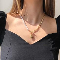 Mode Perlenkette herzförmige Legierung Halskette Großhandel NHMD345790