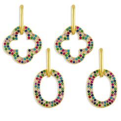 Mode Kreuz ovale Wassertropfen Kupfer eingelegte Zirkon Ohrringe Großhandel NHAS345795