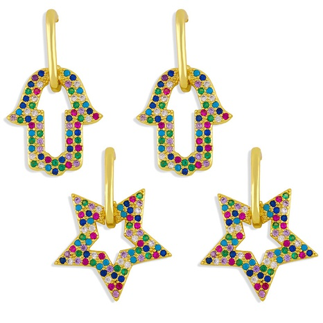 Fashion geometric copper inlaid zircon earrings wholesale NHAS345796's discount tags