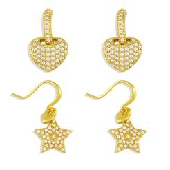 Mode Herzform Kupfer eingelegte Zirkon Ohrringe Großhandel NHAS345797